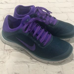 Nike Free 3.0 V5 Ext Purple and Navy Sneakers
